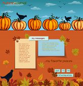 Pumpkins and Crows Autumn Background - Colorful fall journal, with the row of pumpkins, crows and fallen leaves surrounding the paper notes with plenty of copy space