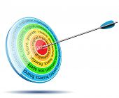 Business target with inscription success. Infographic icon. Illustration, vector.