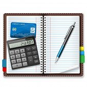 Calculator, pen, notebook, a credit card on a white background. Illustration, vector.