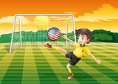 Illustration of a lady player kicking the ball with the flag of the United States