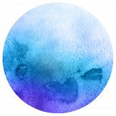 Watercolor circle. Watercolor stain isolated on white background. Watercolour palette.