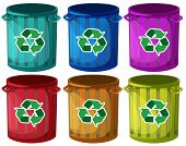 Illustration of the trashbins with recycle signs on a white background
