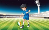 Illustration of a boy at the field using the ball with the flag of Ireland