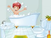 Illustration of a cute boy taking a bath