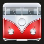 pic of camper-van  - Square Icon Popular hippie bus classic Camper Van - JPG