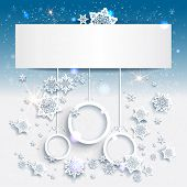 Blue Christmas background with abstract decorations. Place for text. Raster version.