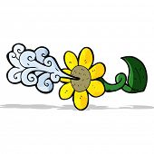 cartoon flower squirting water