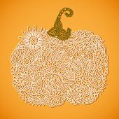 image of hollow  - Stylized lacy doodle pumpkin for Halloween or Thanksgiving - JPG