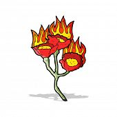 cartoon burning flowers