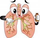 foto of cough syrup  - Mascot Illustration Featuring a Pair of Lungs Taking Cough Syrup - JPG