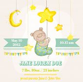 Baby Boy Arrival Card - Baby Bear with Moon and Stars - in vector