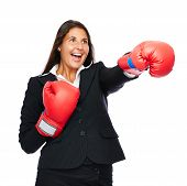 Boxing Business Woman Punching