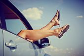 stock photo of car-window  - Road trip concept - JPG