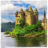 Chateau de Val - castle on lake - artistic picture in painting style
