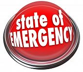 State of Emergency words on a 3d flashing light or button warning about a crisis, trouble, catastrop