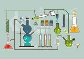 Chemistry laboratory infographic flat elements vector illustration.