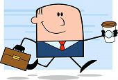 Lucky Businessman Running To Work With Briefcase And Coffee Character On Background