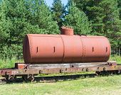 old tanks with oil and fuel transport by rail