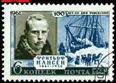 Vintage Postage Stamp. The Great Norwegian Researcher Fritiof Nansen.