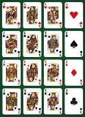 foto of ace spades  - Poker set with isolated cards on green background - JPG