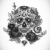 Monochrome Skull, diamond and Flowers Card