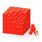 Red Cube With Parts