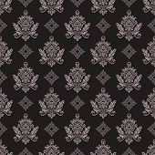 Seamless vintage beige and brown floral wallpaper vector pattern.