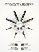 Creative Template Infographic With Fountain Pens