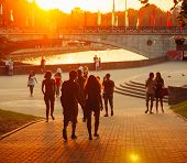 Young Belarusian People Is Walking Through The Park Gorky