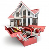 Construction and repair concept. Toolbox with tools and house, 3d