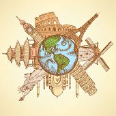 Sketch Famous Buildings Around Planet Earth