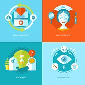Set of flat design concepts for medical icons.