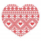 Traditional Ukrainian folk art heart knitted red embroidery pattern