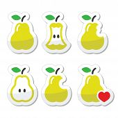 Pear, pear core, bitten, half vector icons