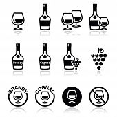 Brandy and cognac vector icons set