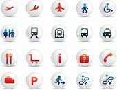Reizen pictogrammen kleur wit knoppen