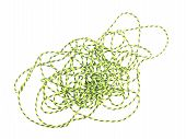 Green String Or Twine On A White Background.