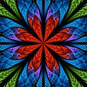 Symmetrical Pattern In Stained-glass Window Style. Green, Blue And Red Palette. Computer Generated G