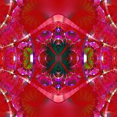 Symmetrical Fractal Pattern With Shiny Strips. Collection -  Rhinestones. On Vinous Background.