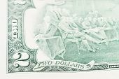 image of two dollar bill  - A close of a two dollars bill - JPG