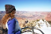A Woman in Winter at the Grand Canyon