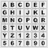 information board mechanic alphabet and digits