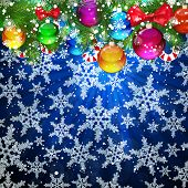 Abstract Christmas background with falling snowflakes.