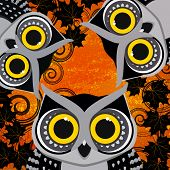 halloween background with owls.