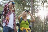 Hiking couple using binoculars in forest