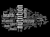High resolution concept or conceptual abstract nutrition and health word cloud or wordcloud on black