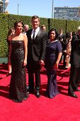 LOS ANGELES - AUG 16:  Jenni Pulos, Jeff Lewis, Zoila Chavez at the 2014 Creative Emmy Awards - Arri