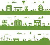 City With Cartoon Houses, Green Eco Panorama.