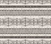 Seamless hand-drawn horizontal pattern, brown on beige background.