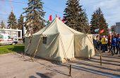 Big Military Tent At The Kuibyshev Square In Samara, Russia